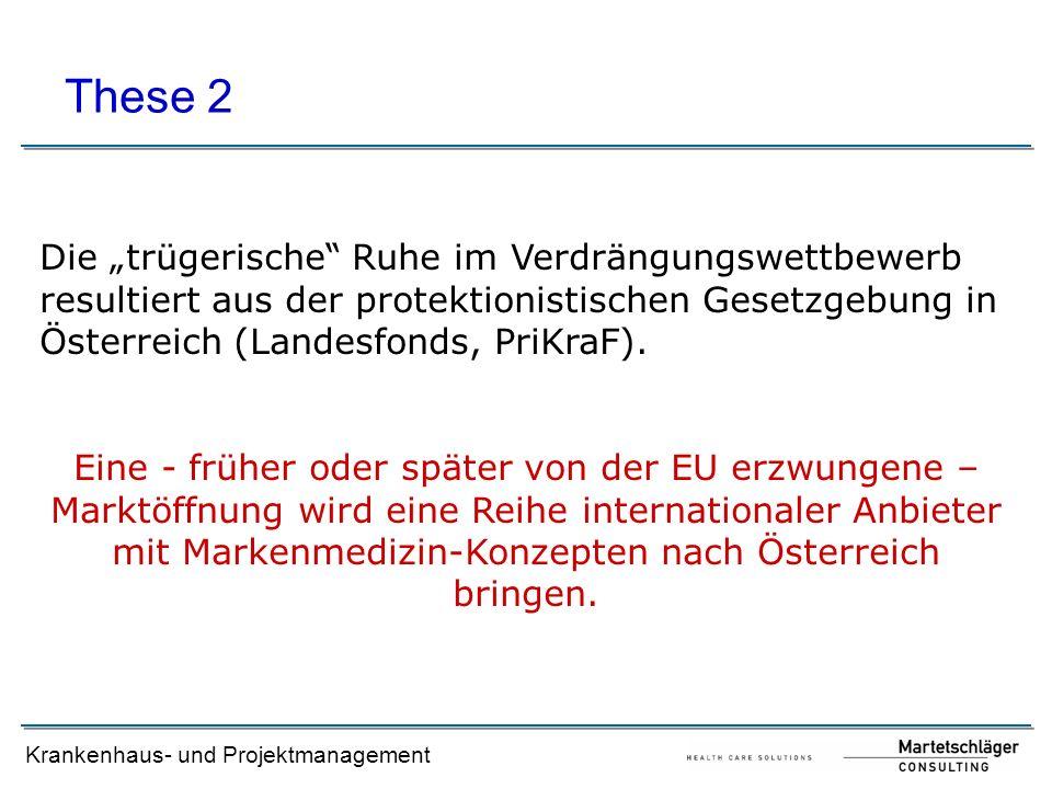 """Krankenhaus- und Projektmanagement Die """"trügerische"""" Ruhe im Verdrängungswettbewerb resultiert aus der protektionistischen Gesetzgebung in Österreich"""