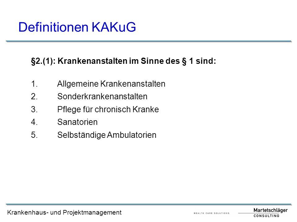 Krankenhaus- und Projektmanagement Definitionen KAKuG §2.(1): Krankenanstalten im Sinne des § 1 sind: 1.Allgemeine Krankenanstalten 2.Sonderkrankenans