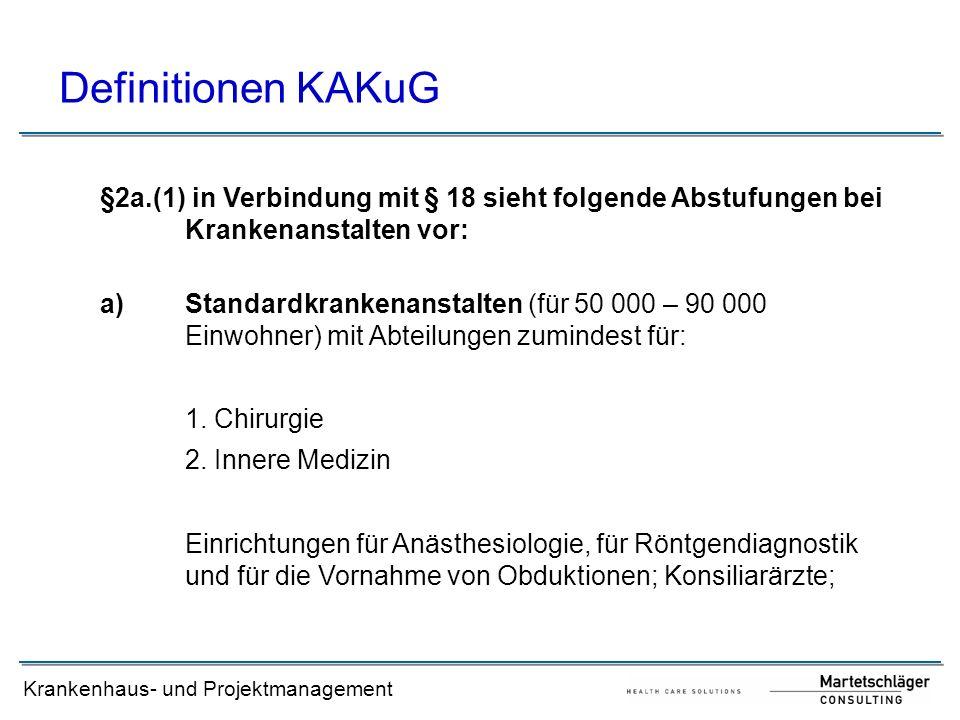 Krankenhaus- und Projektmanagement Definitionen KAKuG §2a.(1) in Verbindung mit § 18 sieht folgende Abstufungen bei Krankenanstalten vor: a)Standardkr