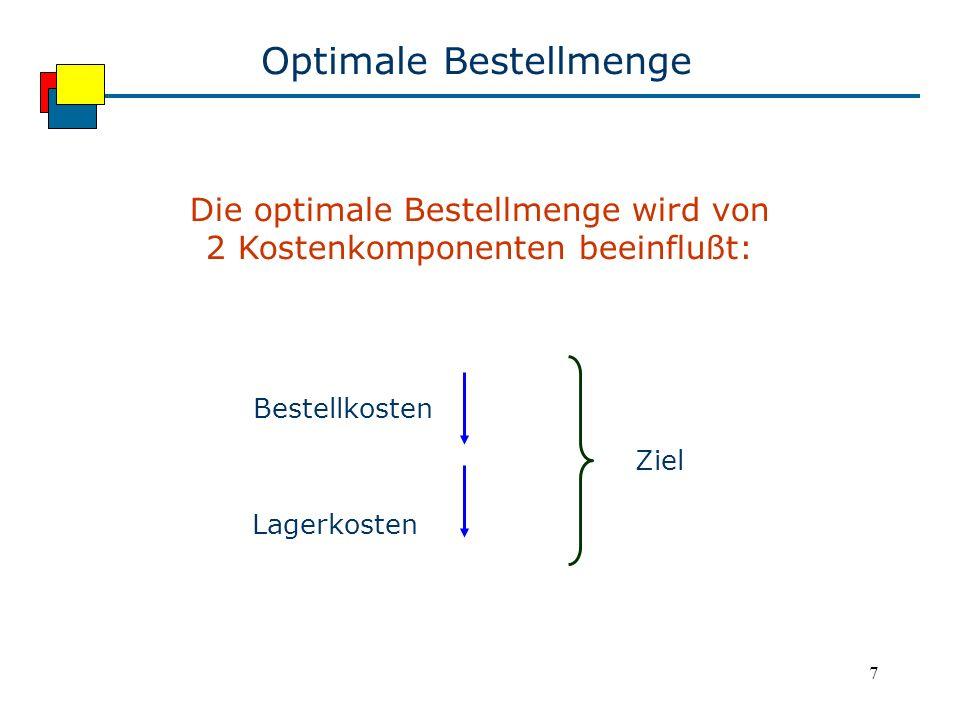 7 Optimale Bestellmenge Die optimale Bestellmenge wird von 2 Kostenkomponenten beeinflußt: Bestellkosten Lagerkosten Ziel
