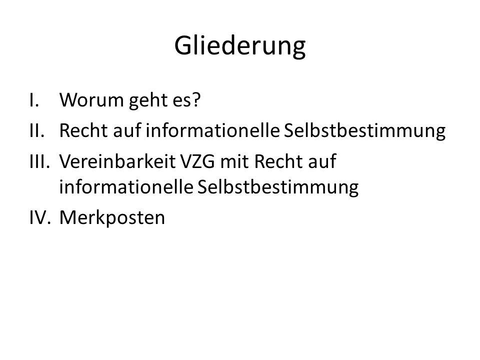 Gliederung I.Worum geht es? II.Recht auf informationelle Selbstbestimmung III.Vereinbarkeit VZG mit Recht auf informationelle Selbstbestimmung IV.Merk