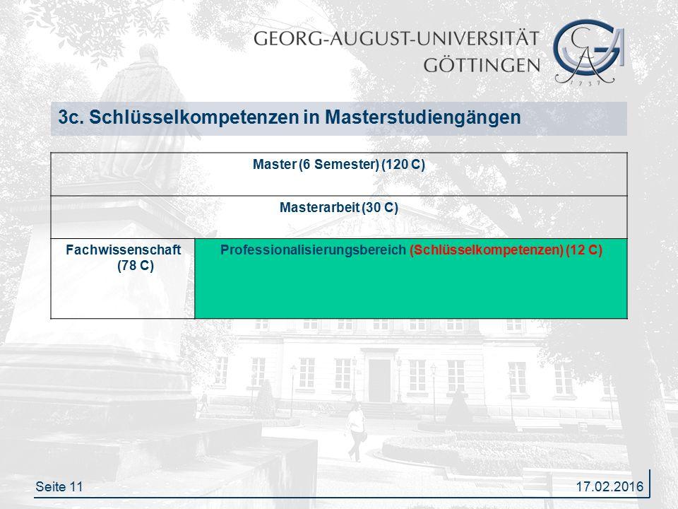 Seite 1117.02.2016 3c. Schlüsselkompetenzen in Masterstudiengängen Master (6 Semester) (120 C) Masterarbeit (30 C) Fachwissenschaft (78 C) Professiona