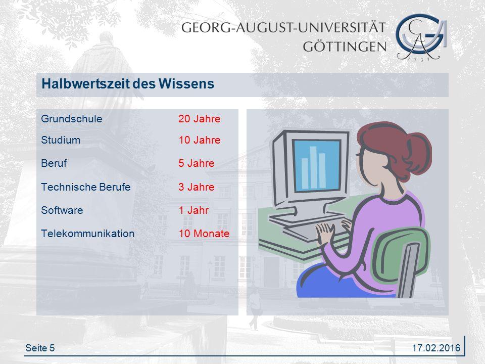 Seite 5 Halbwertszeit des Wissens Grundschule20 Jahre Studium10 Jahre Beruf5 Jahre Technische Berufe3 Jahre Software1 Jahr Telekommunikation10 Monate