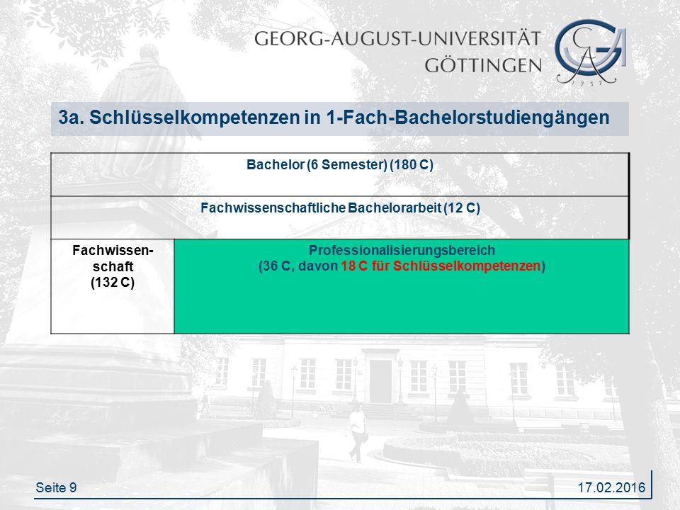 Seite 9 3a. Schlüsselkompetenzen in 1-Fach-Bachelorstudiengängen Bachelor (6 Semester) (180 C) Fachwissenschaftliche Bachelorarbeit (12 C) Fachwissen-