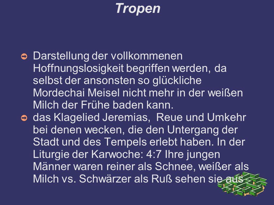 Tropen ➲ Darstellung der vollkommenen Hoffnungslosigkeit begriffen werden, da selbst der ansonsten so glückliche Mordechai Meisel nicht mehr in der we