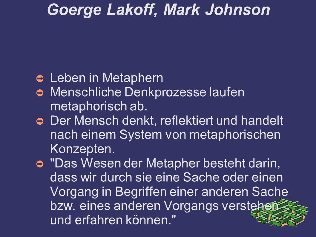 Goerge Lakoff, Mark Johnson ➲ Leben in Metaphern ➲ Menschliche Denkprozesse laufen metaphorisch ab. ➲ Der Mensch denkt, reflektiert und handelt nach e