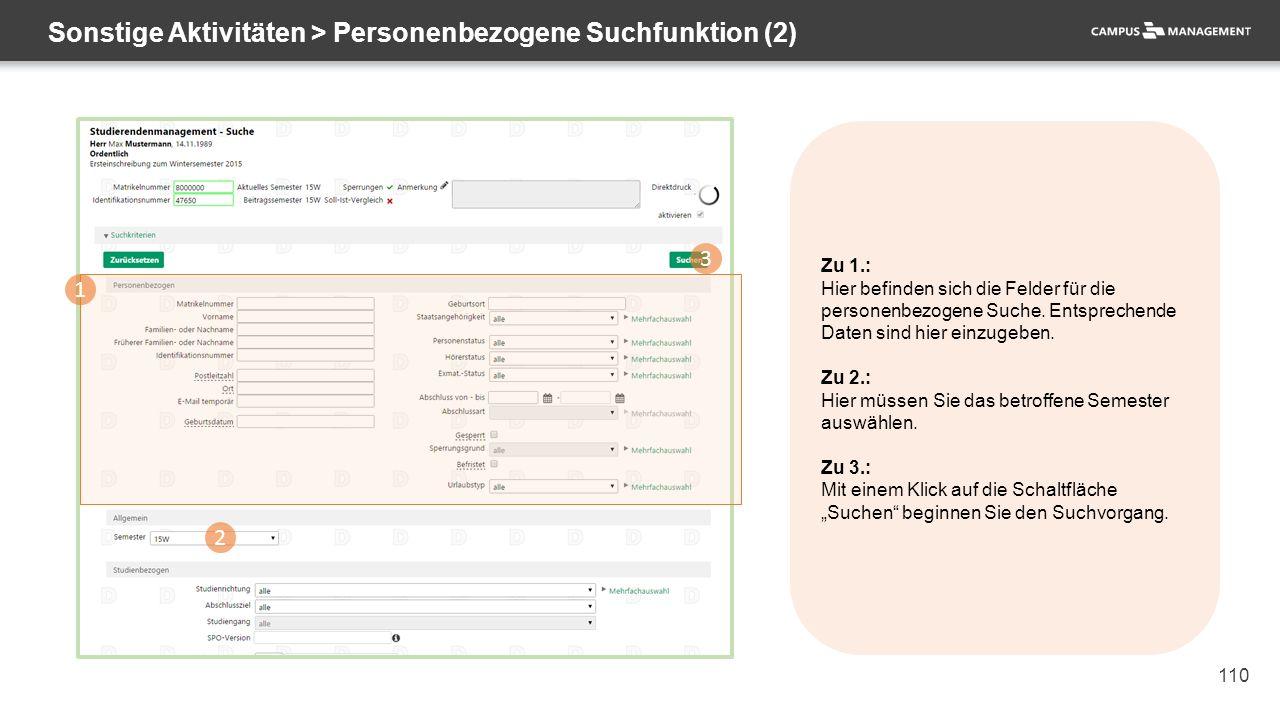 110 Sonstige Aktivitäten > Personenbezogene Suchfunktion (2) 1 2 3 Zu 1.: Hier befinden sich die Felder für die personenbezogene Suche. Entsprechende