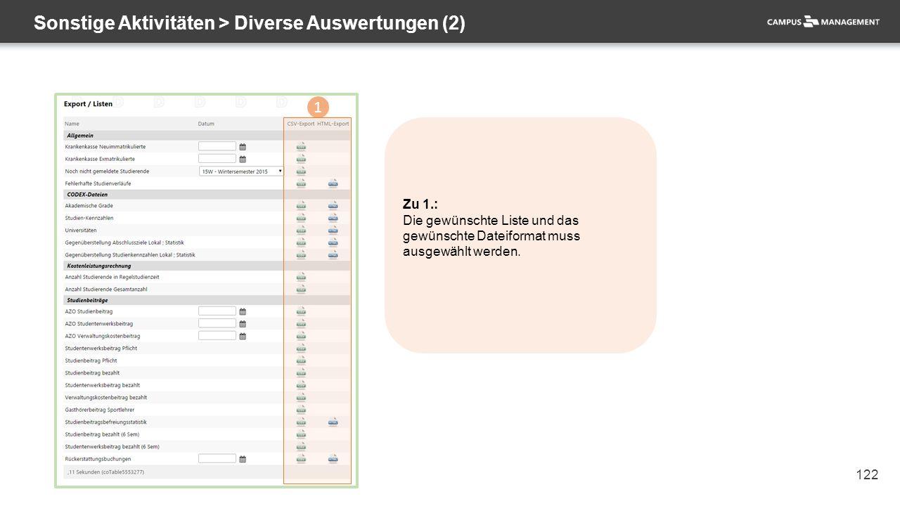 122 Sonstige Aktivitäten > Diverse Auswertungen (2) 1 Zu 1.: Die gewünschte Liste und das gewünschte Dateiformat muss ausgewählt werden.