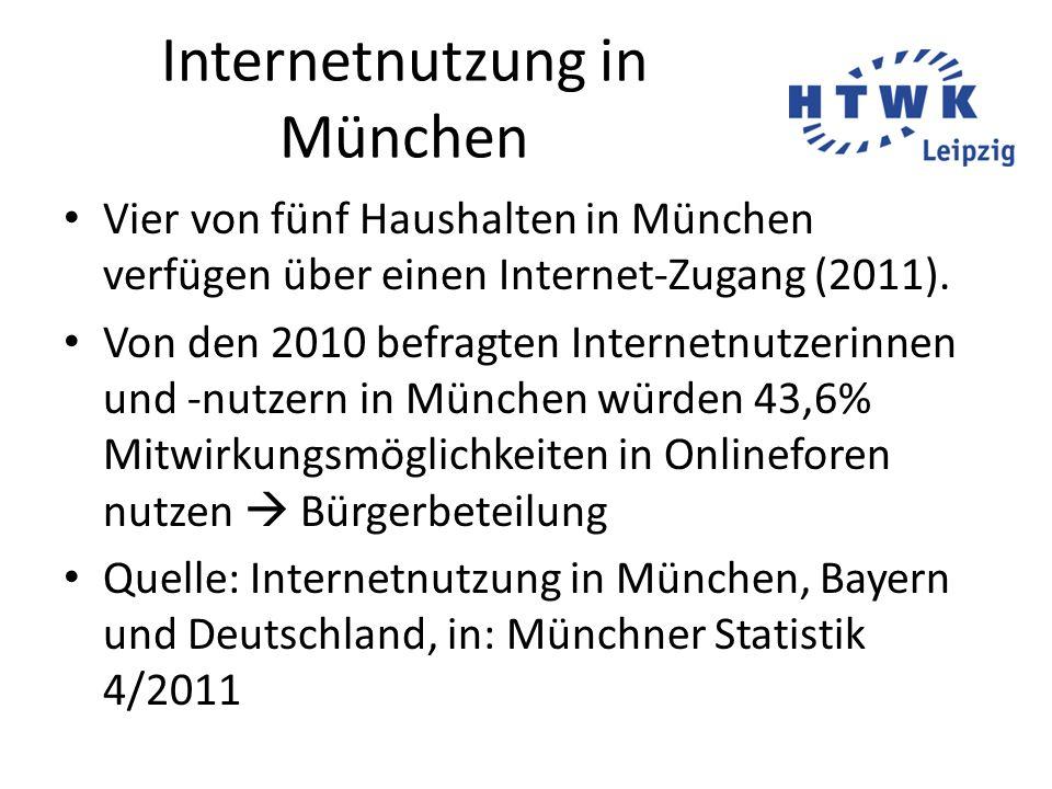 Internetnutzung in München Vier von fünf Haushalten in München verfügen über einen Internet-Zugang (2011). Von den 2010 befragten Internetnutzerinnen