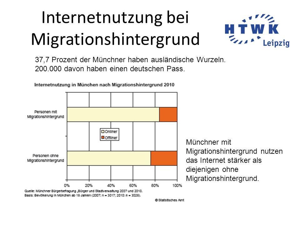 Internetnutzung bei Migrationshintergrund 37,7 Prozent der Münchner haben ausländische Wurzeln. 200.000 davon haben einen deutschen Pass. Münchner mit
