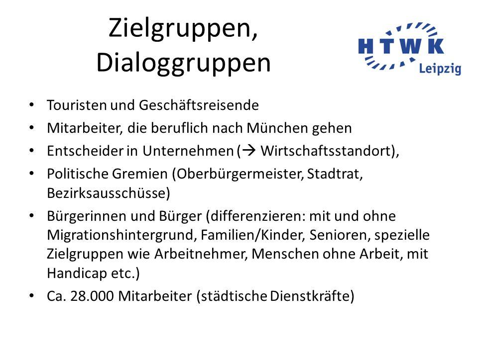 Zielgruppen, Dialoggruppen Touristen und Geschäftsreisende Mitarbeiter, die beruflich nach München gehen Entscheider in Unternehmen (  Wirtschaftssta