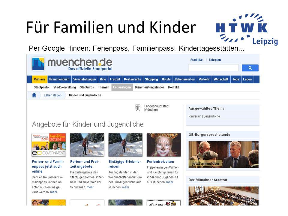 Für Familien und Kinder Per Google finden: Ferienpass, Familienpass, Kindertagesstätten...