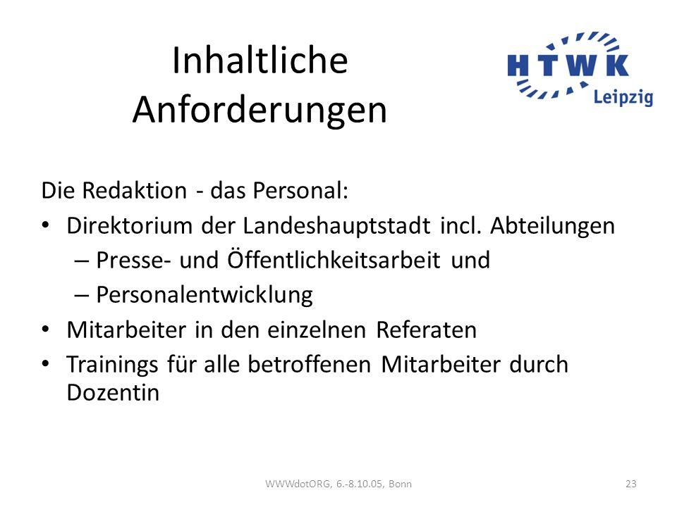 Inhaltliche Anforderungen Die Redaktion - das Personal: Direktorium der Landeshauptstadt incl. Abteilungen – Presse- und Öffentlichkeitsarbeit und – P