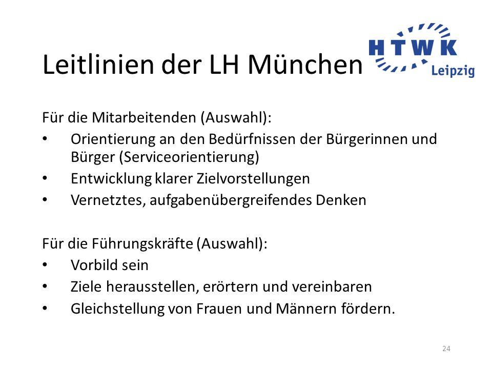 24 Leitlinien der LH München Für die Mitarbeitenden (Auswahl): Orientierung an den Bedürfnissen der Bürgerinnen und Bürger (Serviceorientierung) Entwi