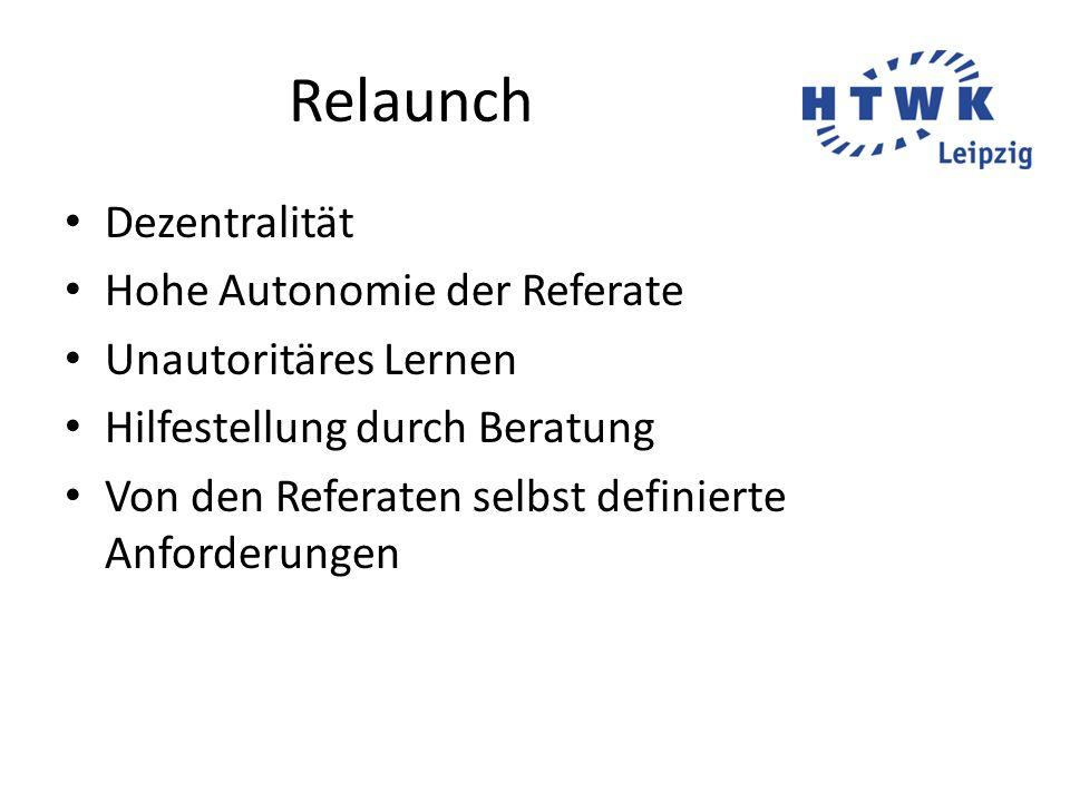 Relaunch Dezentralität Hohe Autonomie der Referate Unautoritäres Lernen Hilfestellung durch Beratung Von den Referaten selbst definierte Anforderungen