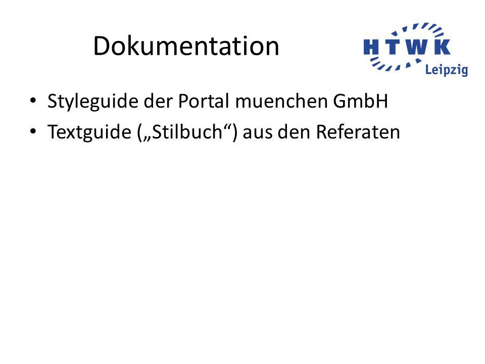 """Dokumentation Styleguide der Portal muenchen GmbH Textguide (""""Stilbuch"""") aus den Referaten"""