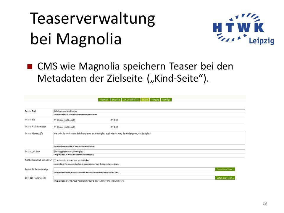 """29 Teaserverwaltung bei Magnolia CMS wie Magnolia speichern Teaser bei den Metadaten der Zielseite (""""Kind-Seite"""")."""
