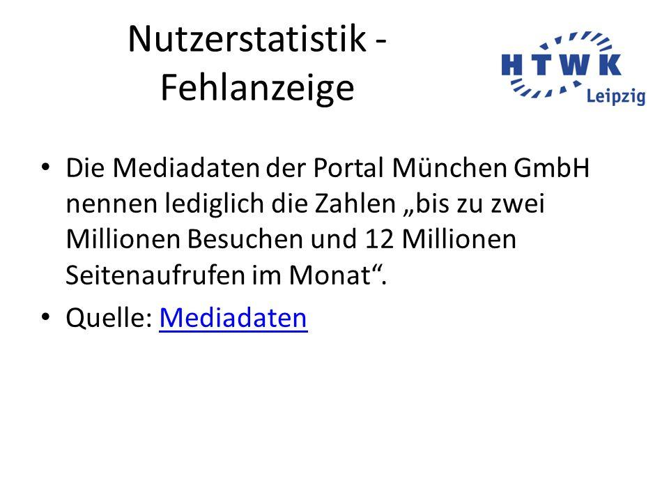 """Nutzerstatistik - Fehlanzeige Die Mediadaten der Portal München GmbH nennen lediglich die Zahlen """"bis zu zwei Millionen Besuchen und 12 Millionen Seit"""