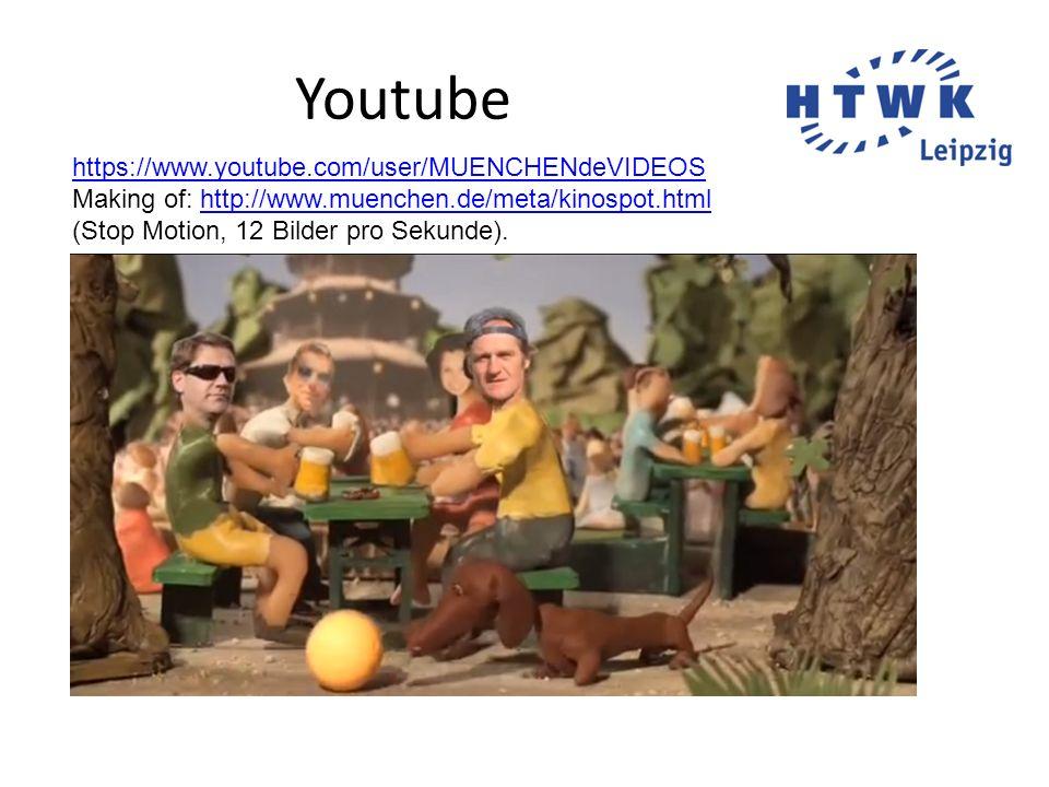 Youtube https://www.youtube.com/user/MUENCHENdeVIDEOS Making of: http://www.muenchen.de/meta/kinospot.html (Stop Motion, 12 Bilder pro Sekunde).http:/