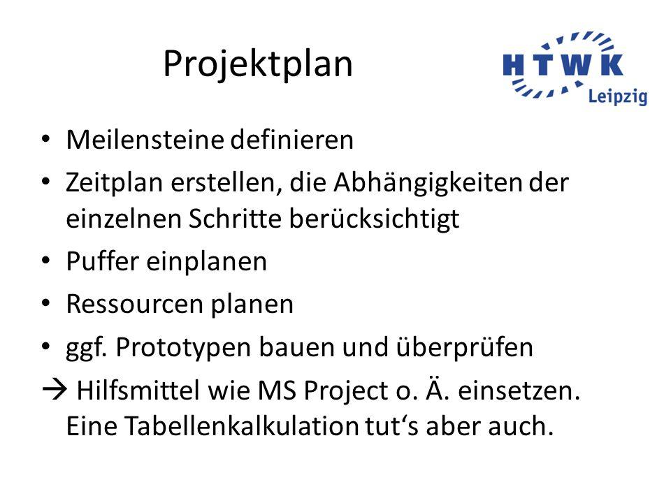 Projektplan Meilensteine definieren Zeitplan erstellen, die Abhängigkeiten der einzelnen Schritte berücksichtigt Puffer einplanen Ressourcen planen gg