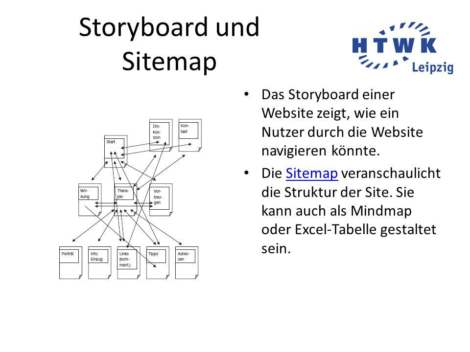 Storyboard und Sitemap Das Storyboard einer Website zeigt, wie ein Nutzer durch die Website navigieren könnte. Die Sitemap veranschaulicht die Struktu