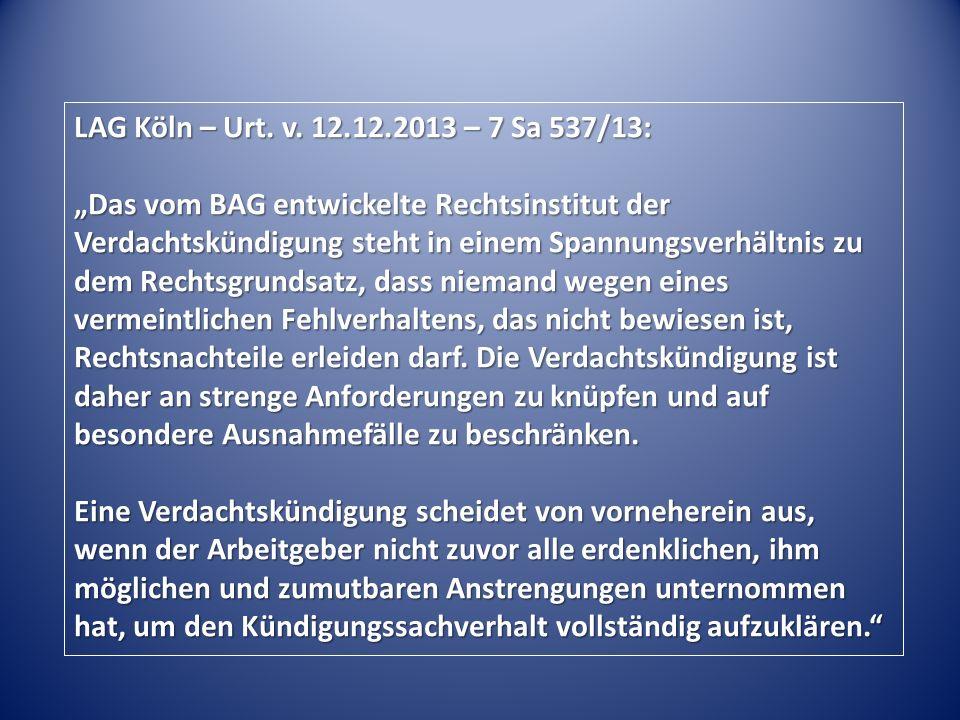 LAG Köln – Urt. v.