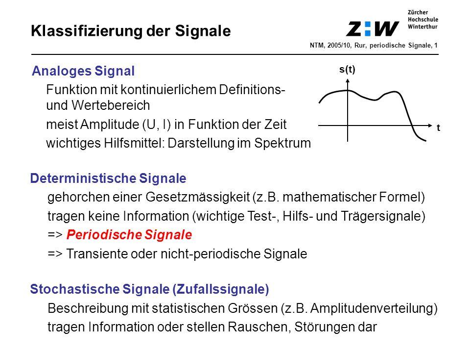 Klassifizierung der Signale Deterministische Signale gehorchen einer Gesetzmässigkeit (z.B. mathematischer Formel) tragen keine Information (wichtige