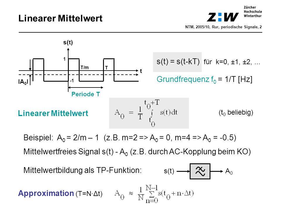 Linearer Mittelwert t s(t) s(t) = s(t-kT) für k=0, ±1, ±2,... Grundfrequenz f 0 = 1/T [Hz] Periode T Linearer Mittelwert 1 T/m T Beispiel: A 0 = 2/m –