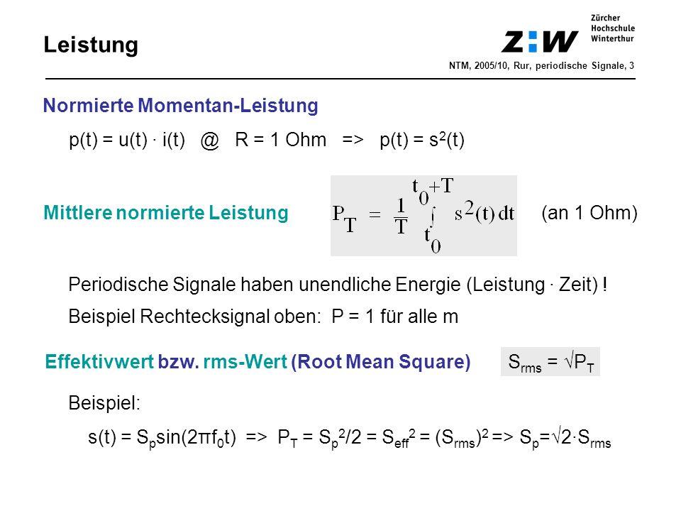 Mittlere normierte Leistung(an 1 Ohm) Leistung Normierte Momentan-Leistung p(t) = u(t) · i(t) @ R = 1 Ohm => p(t) = s 2 (t) Beispiel Rechtecksignal ob