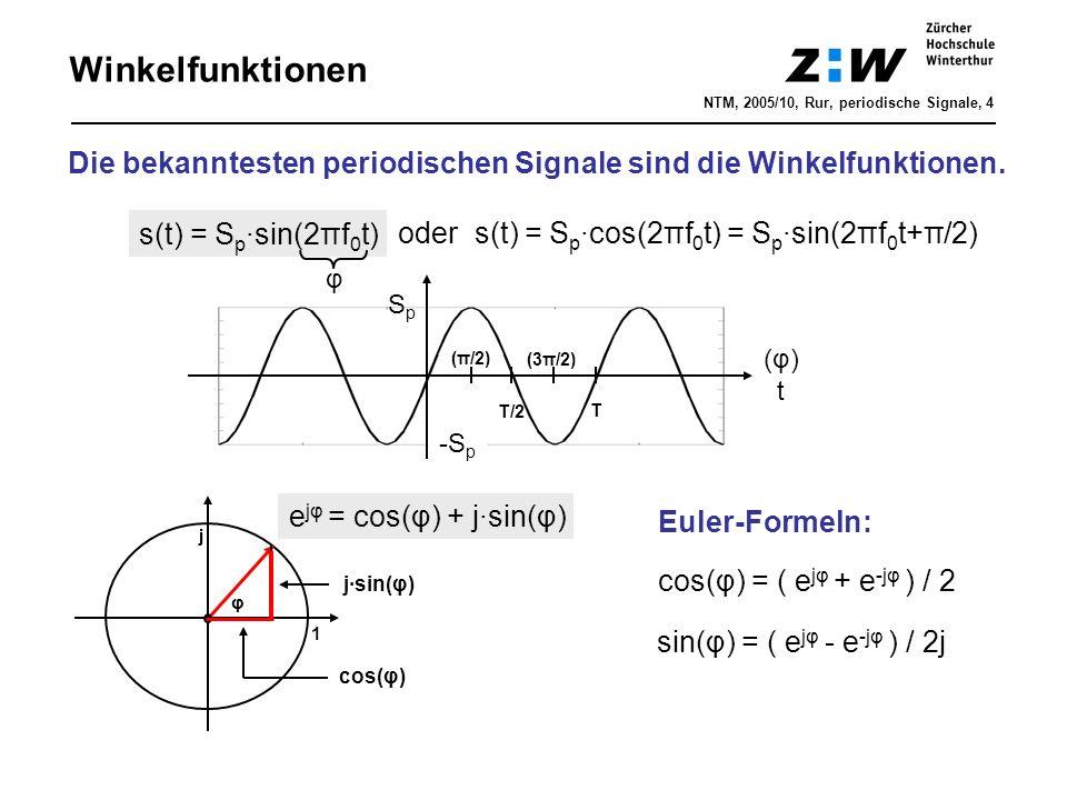 Winkelfunktionen Die bekanntesten periodischen Signale sind die Winkelfunktionen. (φ)t(φ)t oder s(t) = S p ·cos(2πf 0 t) = S p ·sin(2πf 0 t+π/2) s(t)