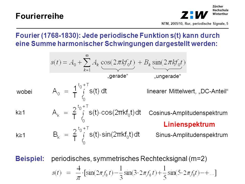 Fourierreihe Fourier (1768-1830): Jede periodische Funktion s(t) kann durch eine Summe harmonischer Schwingungen dargestellt werden: wobei k≥1k≥1 line