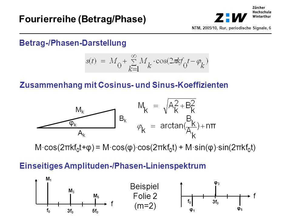 Fourierreihe (Betrag/Phase) Betrag-/Phasen-Darstellung AkAk BkBk MkMk φkφk Zusammenhang mit Cosinus- und Sinus-Koeffizienten M·cos(2πkf 0 t+φ) = M·cos