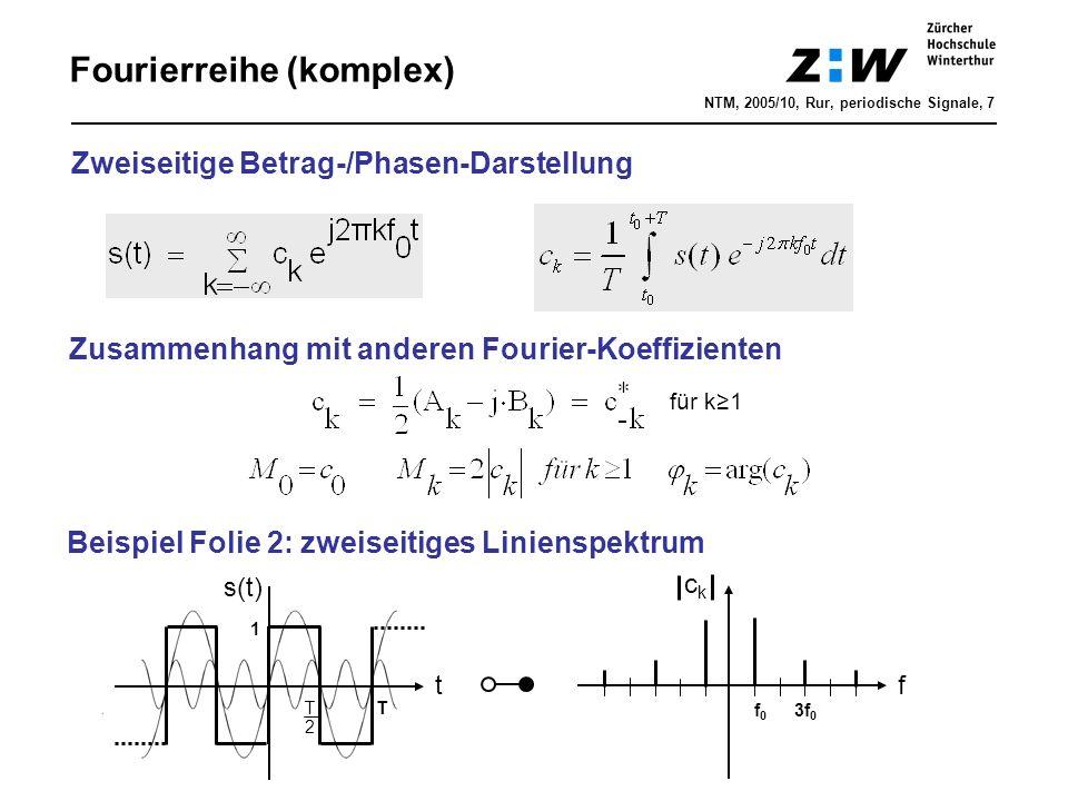 Fourierreihe (komplex) Zweiseitige Betrag-/Phasen-Darstellung Zusammenhang mit anderen Fourier-Koeffizienten Beispiel Folie 2: zweiseitiges Linienspek