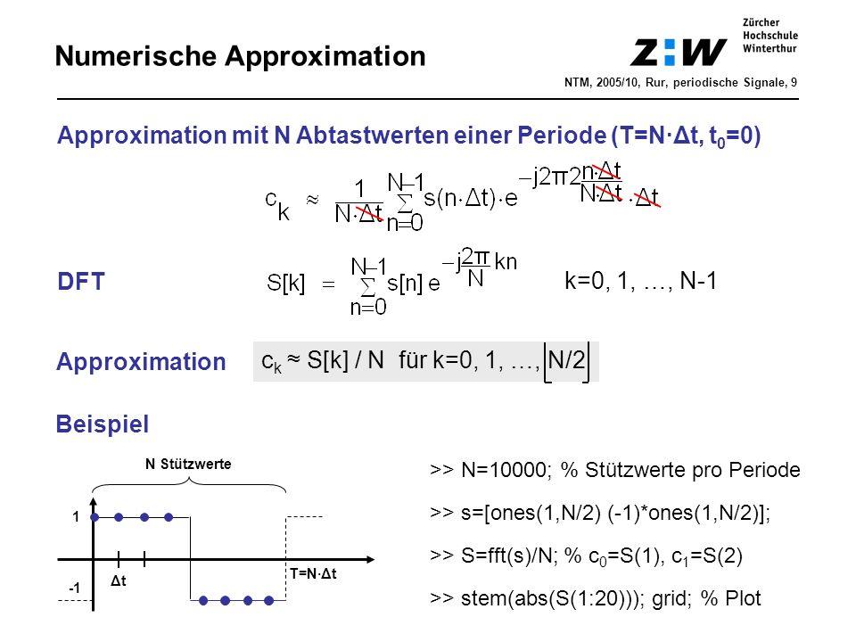Numerische Approximation Approximation mit N Abtastwerten einer Periode (T=N·Δt, t 0 =0) DFT k=0, 1, …, N-1 NTM, 2005/10, Rur, periodische Signale, 9