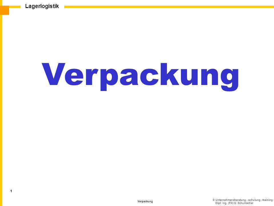 ©Unternehmensberatung, -schulung, -training Dipl. Ing. (FH) G. Schumacher Lagerlogistik Verpackung 1