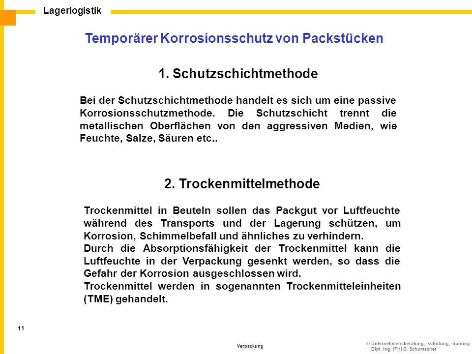 ©Unternehmensberatung, -schulung, -training Dipl. Ing. (FH) G. Schumacher Lagerlogistik Verpackung 11 Temporärer Korrosionsschutz von Packstücken 1. S