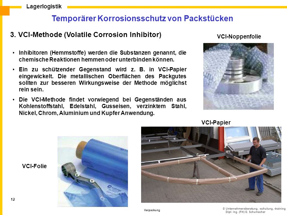 ©Unternehmensberatung, -schulung, -training Dipl. Ing. (FH) G. Schumacher Lagerlogistik Verpackung 12 3. VCI-Methode (Volatile Corrosion Inhibitor) VC