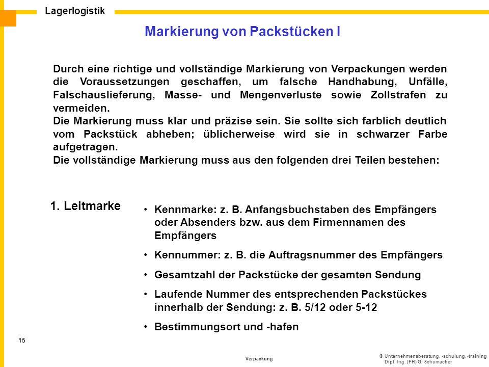 ©Unternehmensberatung, -schulung, -training Dipl. Ing. (FH) G. Schumacher Lagerlogistik Verpackung 15 Markierung von Packstücken I Durch eine richtige