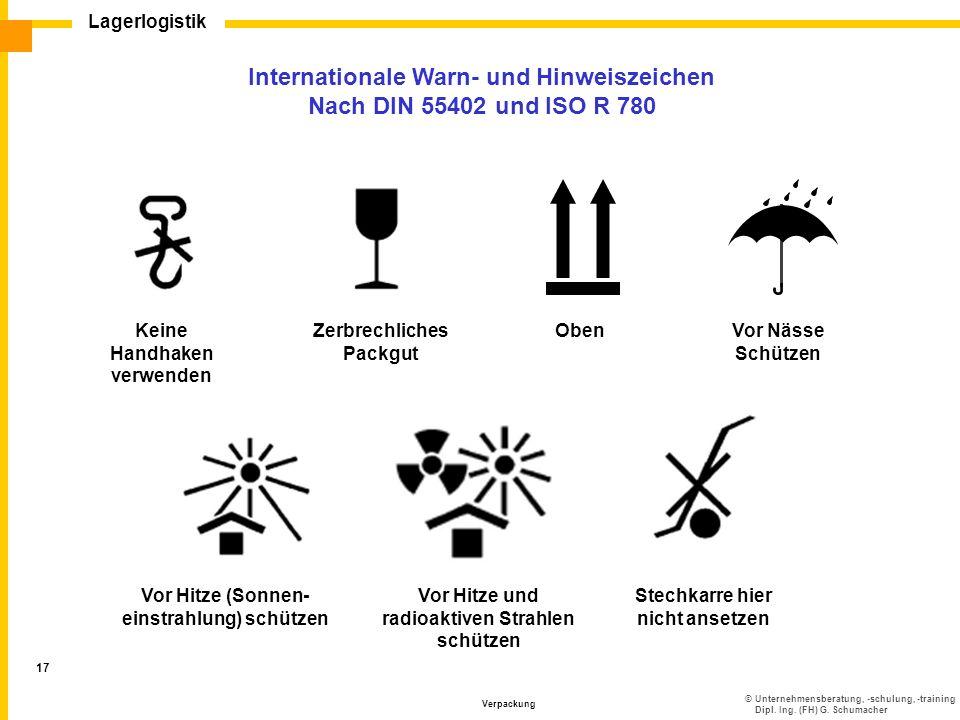 ©Unternehmensberatung, -schulung, -training Dipl. Ing. (FH) G. Schumacher Lagerlogistik Verpackung 17 Internationale Warn- und Hinweiszeichen Nach DIN