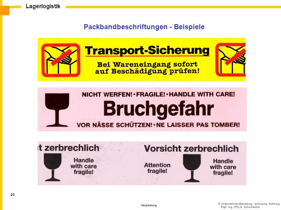 ©Unternehmensberatung, -schulung, -training Dipl. Ing. (FH) G. Schumacher Lagerlogistik Verpackung 20 Packbandbeschriftungen - Beispiele