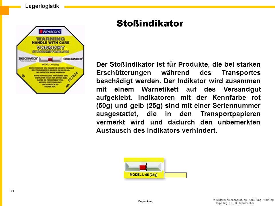©Unternehmensberatung, -schulung, -training Dipl. Ing. (FH) G. Schumacher Lagerlogistik Verpackung 21 Der Stoßindikator ist für Produkte, die bei star