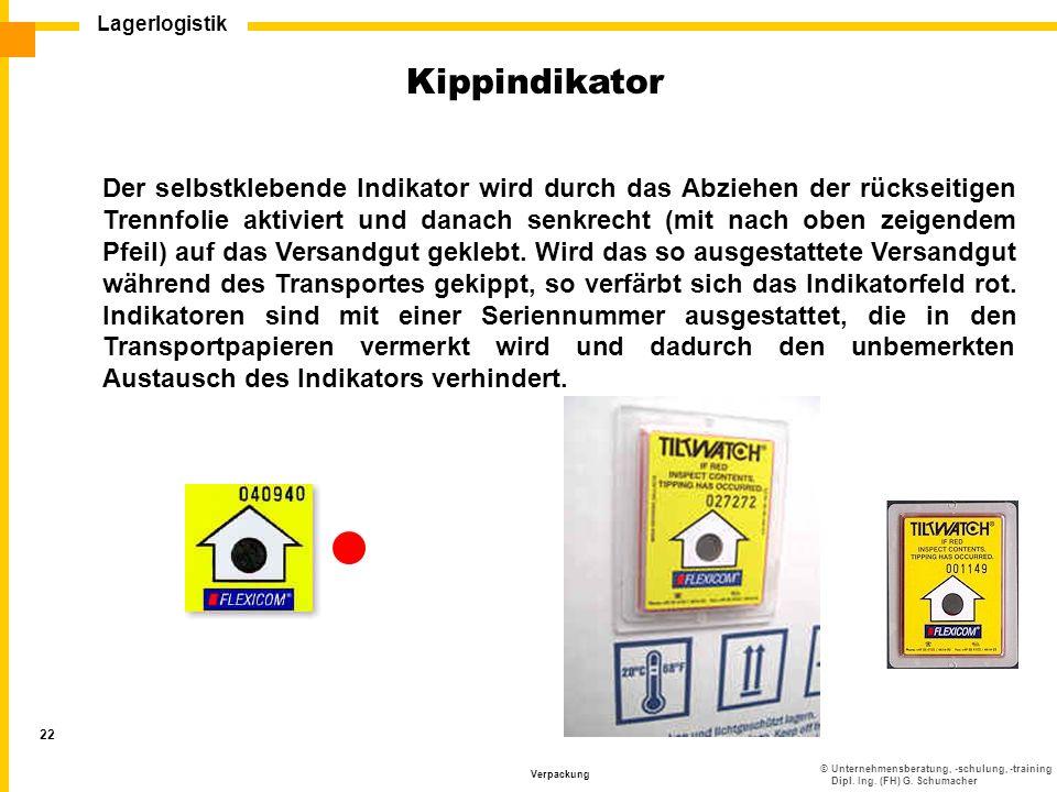 ©Unternehmensberatung, -schulung, -training Dipl. Ing. (FH) G. Schumacher Lagerlogistik Verpackung 22 Der selbstklebende Indikator wird durch das Abzi
