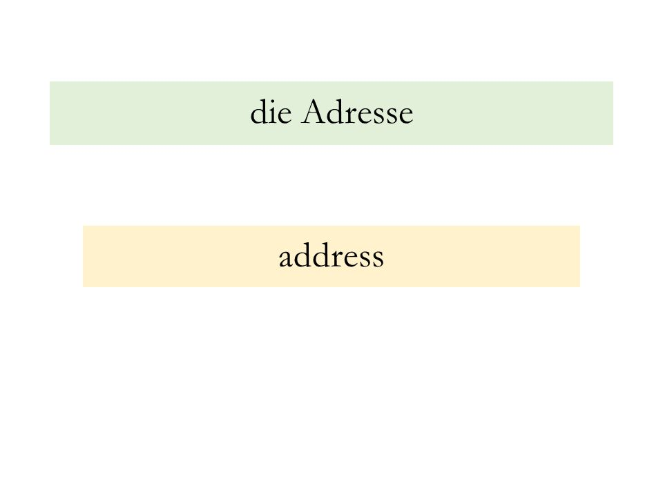 die Adresse address