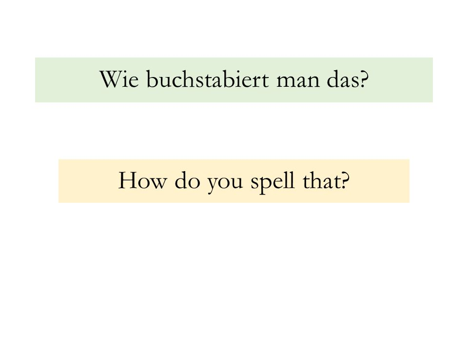 Wie buchstabiert man das? How do you spell that?