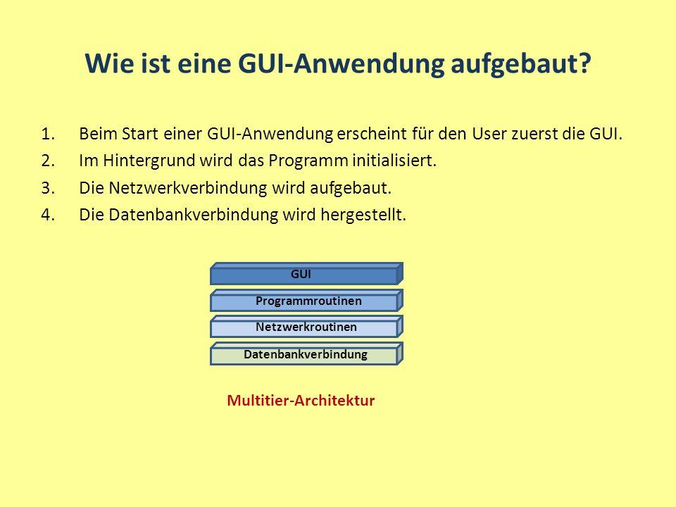 Wie ist eine GUI-Anwendung aufgebaut? 1.Beim Start einer GUI-Anwendung erscheint für den User zuerst die GUI. 2.Im Hintergrund wird das Programm initi