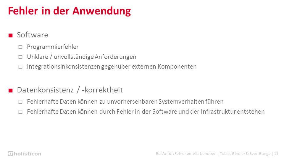 Bei Anruf: Fehler bereits behoben | Tobias Gindler & Sven Bunge | 11 Fehler in der Anwendung ■ Software  Programmierfehler  Unklare / unvollständige