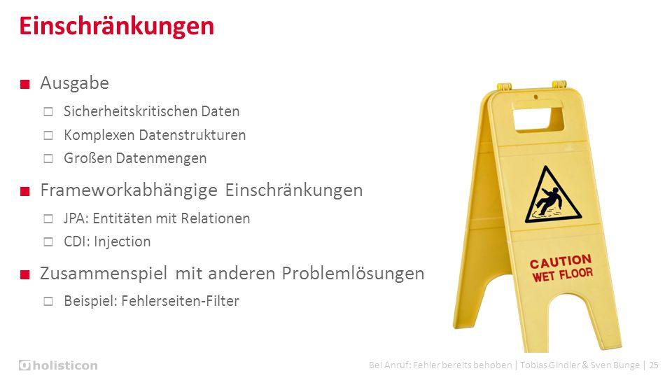 Bei Anruf: Fehler bereits behoben | Tobias Gindler & Sven Bunge | 25 Einschränkungen ■ Ausgabe  Sicherheitskritischen Daten  Komplexen Datenstruktur