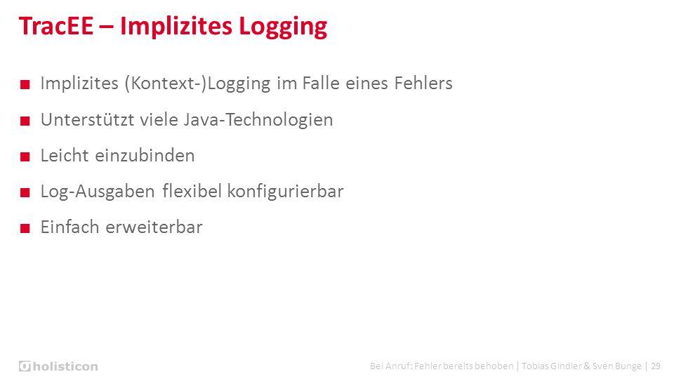Bei Anruf: Fehler bereits behoben | Tobias Gindler & Sven Bunge | 29 TracEE – Implizites Logging ■ Implizites (Kontext-)Logging im Falle eines Fehlers