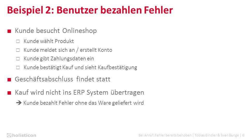 Bei Anruf: Fehler bereits behoben | Tobias Gindler & Sven Bunge | 6 Beispiel 2: Benutzer bezahlen Fehler ■ Kunde besucht Onlineshop  Kunde wählt Prod