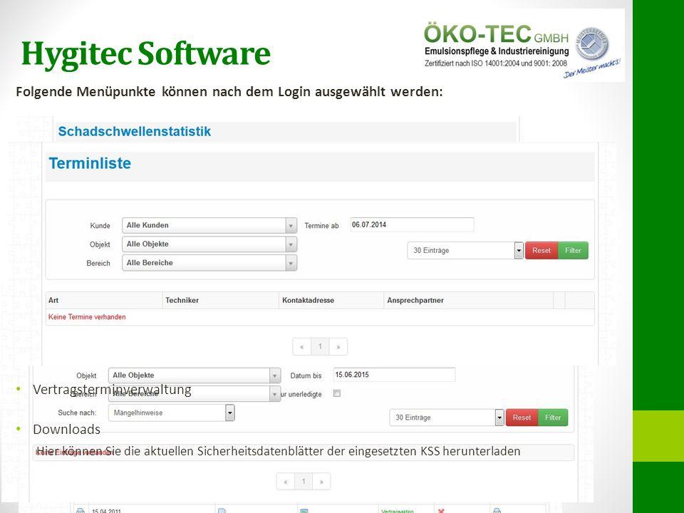 Hygitec Software Folgende Menüpunkte können nach dem Login ausgewählt werden: Dashboard Berichte (Berichtsübersicht, Pläne, Listen, Monitorhistorien)